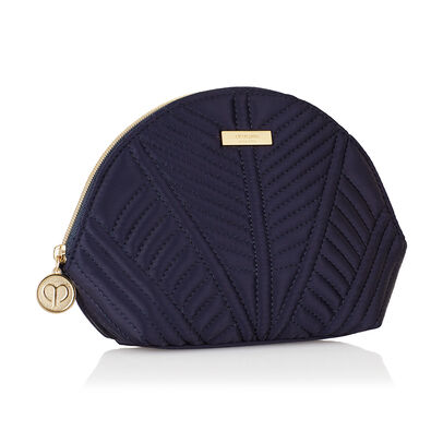 Navy Quilted Beauty Week Pouch,