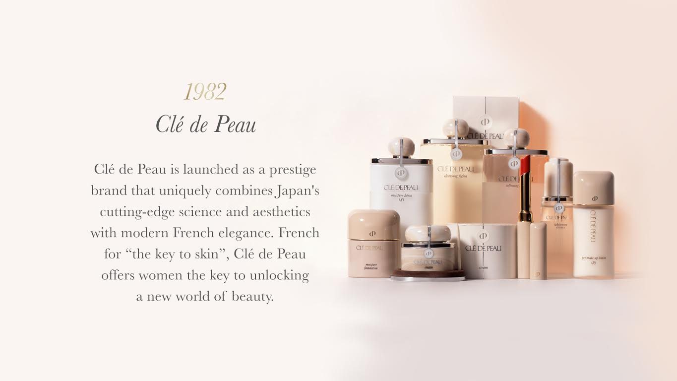 "Clé de Peau is launched as a prestige brand that uniquely combines Japan's cutting-edge science and aesthetics with modern French elegance. French for ""the key toskin"", Clé de Peau offers women the key to unlocking a new world of beauty."