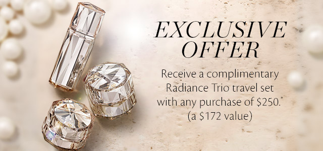 EXCLUSIVE OFFER.  Receive a complimentary Raidance Trio travel set with and purchase of $250.* (a $172 value)